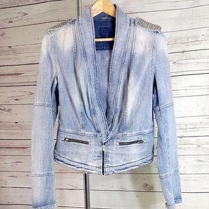 Vintage Guess studded distressed denim jacket